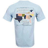 Southern Fried Cotton Quilted South T-Shirt - Light Blue
