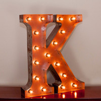 """24"""" Letter K Lighted Vintage Marquee Letters with Screw-on Sockets"""