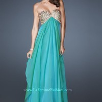 Sequined V-Sweetheart Gown by La Femme