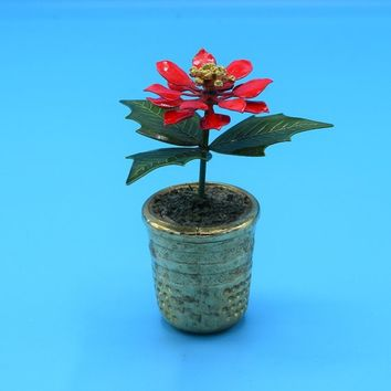 Poinsettia Metal Flower Pot Vintage Miniature Posable Poinsettia Plant in Gold Thimble Pot Christmas Decor Holiday Decor Red Green Gold