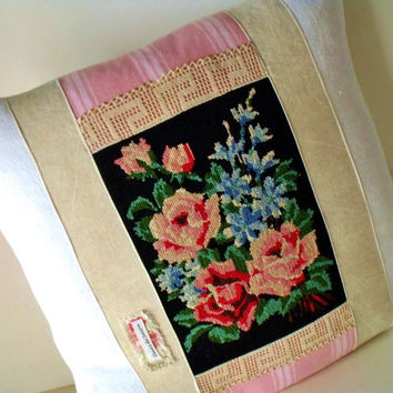 "French Large 22"" Tapestry Needlepoint Floral bouquet Pink Ticking  Antique Linen Square Pillow Cushion Cover"