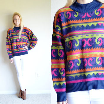 Vintage 62 East Super Funky Patterned Sweater Colorful Jumper Striped Swirl Pullover Tumblr Hipster Sweater Bohemian Funky Retro Sweater