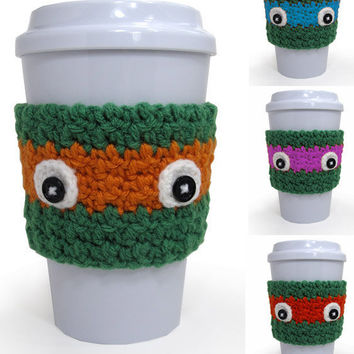 SET OF 4 Crochet Ninja Turtle Inspired Coffee Cup Cozy