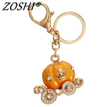 Lovely pumpkin Crown Crystal Keychains