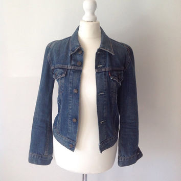 Vintage Levi 80s 90s Ladies Blue Denim Jean Jacket Stonewash Western Biker Retro Summer Winter Christmas Size X Small Ladies Clothing