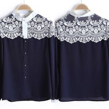 Newest Lace Floral Women Chiffon Shirt Tops Button Down Long Sleeve Loose Ladies Blouse Hot