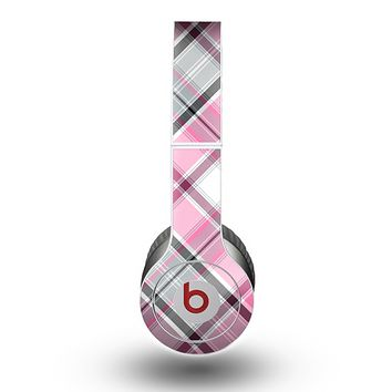 The Black and Pink Layered Plaid V5 Skin for the Beats by Dre Original Solo-Solo HD Headphones