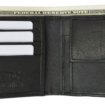 Kid's Leather Bifold Wallet with Coin Pouch and Card Slots 925