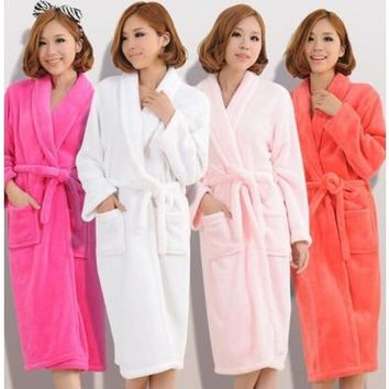New Women Lady Loose Long Sleepwear Comfortable Robes Coral Fleece Spa Bathrobe [8833511628]