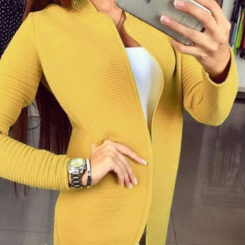 Yellow Non Button Casual Cardigan