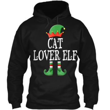Cat Lover Elf Matching Family Christmas  Cute Funny Pullover Hoodie 8 oz