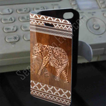 Elephant Aztec Wood Texture Leather Folio Case for iPhone and Samsung Galaxy