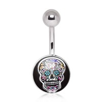 316L Surgical Steel Intricate Sugar Skull Navel Ring