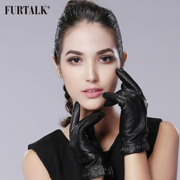 FURTALK Women's  Cashmere Lining Lambskin Texting Leather Gloves  for Iphone Smartphone
