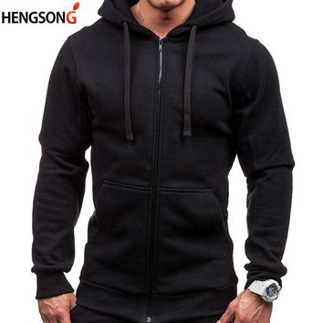 New Autumn Tracksuit Pocket Drawstring Hooded Sweatshirt Long Sleeve Zip Slim Coat Cardigan Man Hoody Plus Size Men's Hoodies