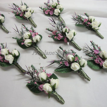 Boutonnieres, 10 silk flower boutonnieres, Special Occasion Boutonnieres