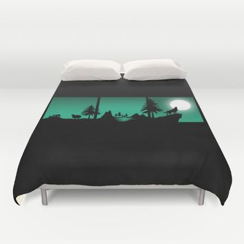 The sheep and the wolf in the woods Duvet Cover by Xiari