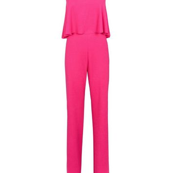 Bright Pink Frill Bandeau Crepe Party Jumpsuit | New Look