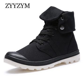 Men Army Boots Spring Autumn Lace-up High Style Paladins Canvas Fashion Trend Youth Flat With Rubber Man Boot Shoe