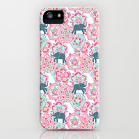 Tiny Elephants in Fields of Flowers iPhone & iPod Case by Micklyn
