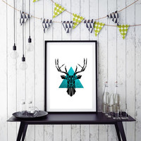 Geometric Deer, Origami Art, Digital Download, Black Deer, Mint Triangle Geometric Animal Origami Print Deer Art Black Mint Geometric *184*