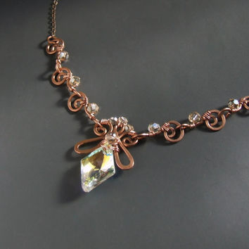 Crystal necklace, Swarovski crystal jewelry, fairy copper jewelry, wedding jewelry