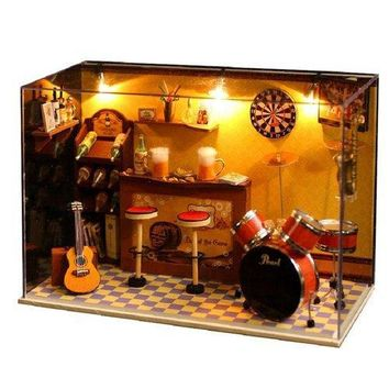 DIY Wood Dollhouse Miniature With LED+Music+Furniture+Cover Doll House Room Home Decor
