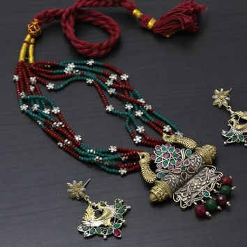 Layered 2 Tone Ruby Emerald Necklace