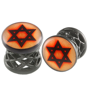 Star Of David Logo Double-Flared Plug [Gauge: 00G - 10mm] Alloy (Black) // Set of 2