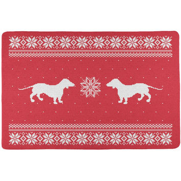 Dachshund Ugly Christmas Sweater Red All Over Placemat