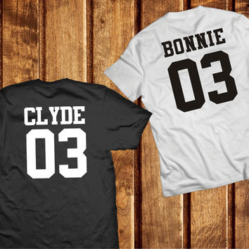 Bonnie and Clyde Couple Shirts, Couples Tshirts, Matching Bonnie Clyde 100% Cotton T-shirts