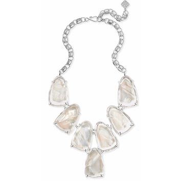 Kendra Scott: Harlow Silver Statement Necklace In Suspended Ivory Mother Of Pear