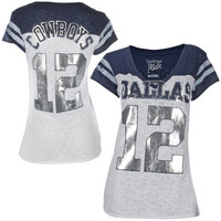 Dallas Cowboys Ladies Kerria Burnout Jersey V-Neck Slim Fit T-Shirt - Navy Blue/White