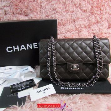 Auth 2006 Excellent Condition CHANEL 2.55 Brown Caviar Medium Flap Bag Silver HW