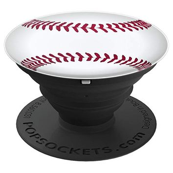Baseball Sports Game Ball White Red Laces Pattern - PopSockets Grip and Stand for Phones and Tablets