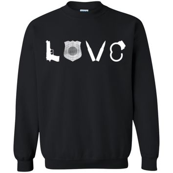 I Love Police Officers Cops Law Enforcement Gun Pullover Sweatshirt Sweater, Unisex, S-5XL, Black