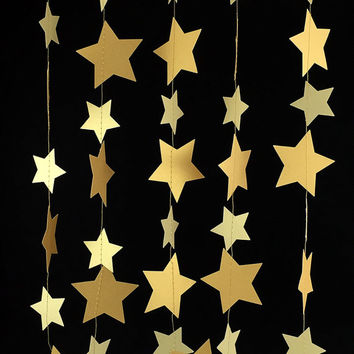 Gold Star Garland - Gold Garland, Gold Decor, Wedding Garland, Gold Paper Garland, Metallic Garland, Gold Party Decorations - GS005BlGdMtGd