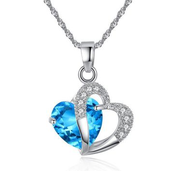 Womens Tiny Elegant Small Blue Heart Cute Short Necklace Present Christmas Gift
