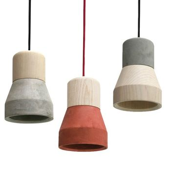 Cement pendant lamp CEMENT WOOD LAMP by Specimen Editions | design Decha Archjananun