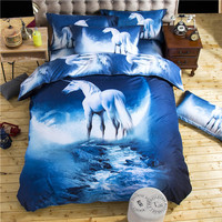 3d Galaxy Bedding Sets Twin/Queen Size Bedclothes Bed Linen Horse Printing Mysterious Duvet Cover Set