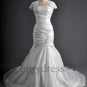 Custom White Applique Beaded Taffeta Wedding Dresses with Jacket Formal Bridal Gowns Wedding Party Dresses Formal Wear