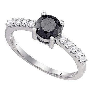 10kt White Gold Women's Round Black Color Enhanced Diamond Solitaire Bridal Wedding Engagement Ring 1.00 Cttw - FREE Shipping (USA/CAN)