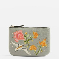 Stone Holly Bird Embroidered Zip Top Purse | Topshop