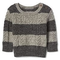 Stripe button aran sweater | Gap