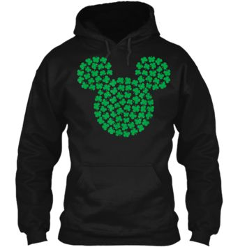 Disney Mickey Mouse Green Clovers St. Patrick's Day  Pullover Hoodie 8 oz