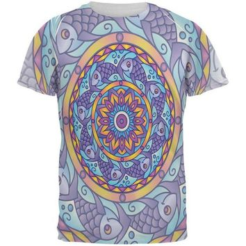 DCCKJY1 Mandala Trippy Stained Glass Fish All Over Mens T Shirt