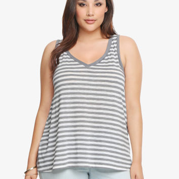 Striped Split Back Tank Top