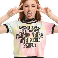Strange Things With Weird People Tie Dye Girls Ringer Crop T-Shirt