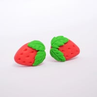 Cute Strawberry Earring Studs - Kawaii Polymer Clay Jewellery