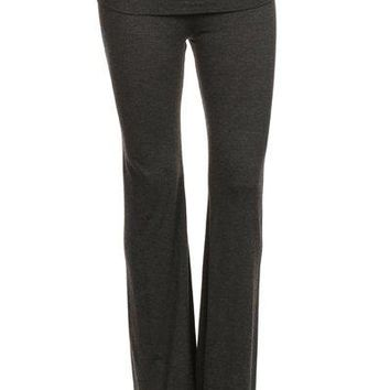 Solid Color High Waisted Full Length Flared Leg Pants with Fold Over Waist Band